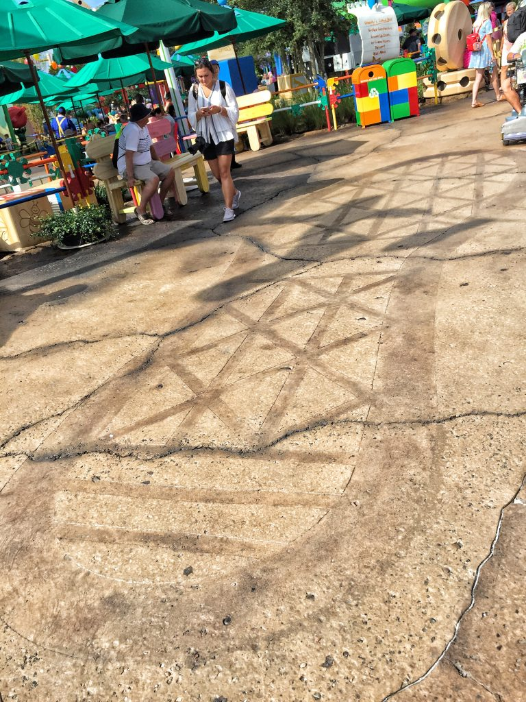 Andy's footprint in Walt Disney World's Toy Story Land
