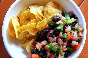 Vegan Plantain Chips with Black Bean Salsa in the Magic Kingdom at Walt Disney World