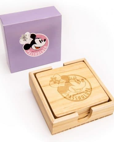 Free 2019 Epcot International Food and Wine Festival Passholder Chef Minnie Wooden Coaster Set