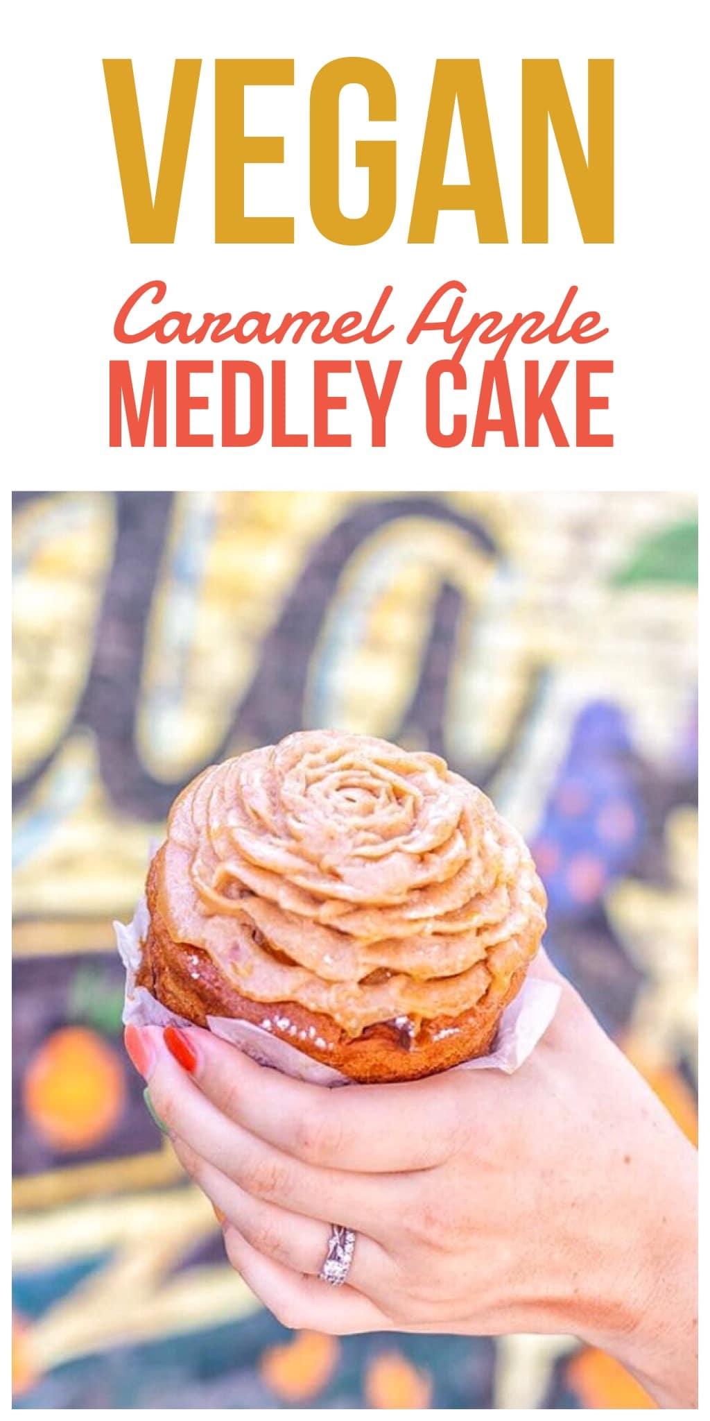 Vegan Caramel Apple Medley Cake for WonderFall Flavors in Disney Springs at Walt Disney World