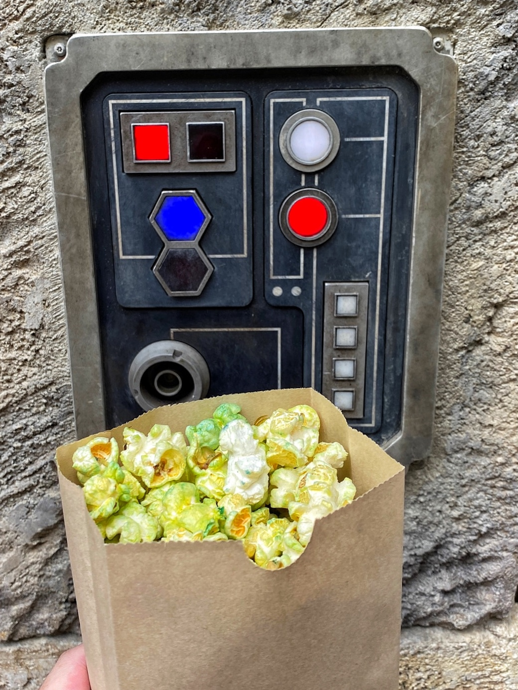 Vegan Galaxy Grains Popcorn in Star Wars Galaxy's Edge at Walt Disney World