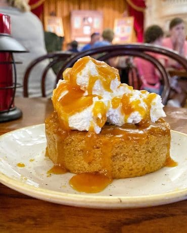 Vegan Campfire Apple Cake at The Diamond Horseshoe in the Magic Kingdom at Walt Disney World