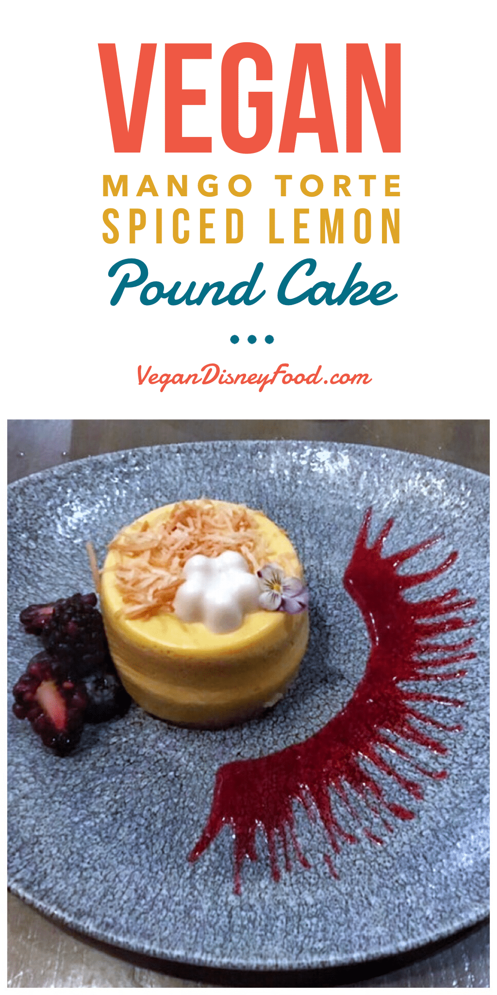 Vegan Mango Torte Spiced Lemon Pound Cake at Ale and Compass Restaurant in the Yacht Club Resort at Walt Disney World