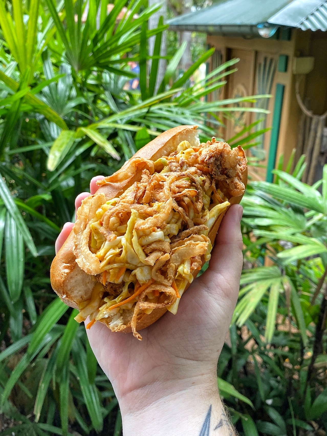Vegan Hot Link Smokehouse Sandwich at Flame Tree Barbecue in Animal Kingdom at Walt Disney World