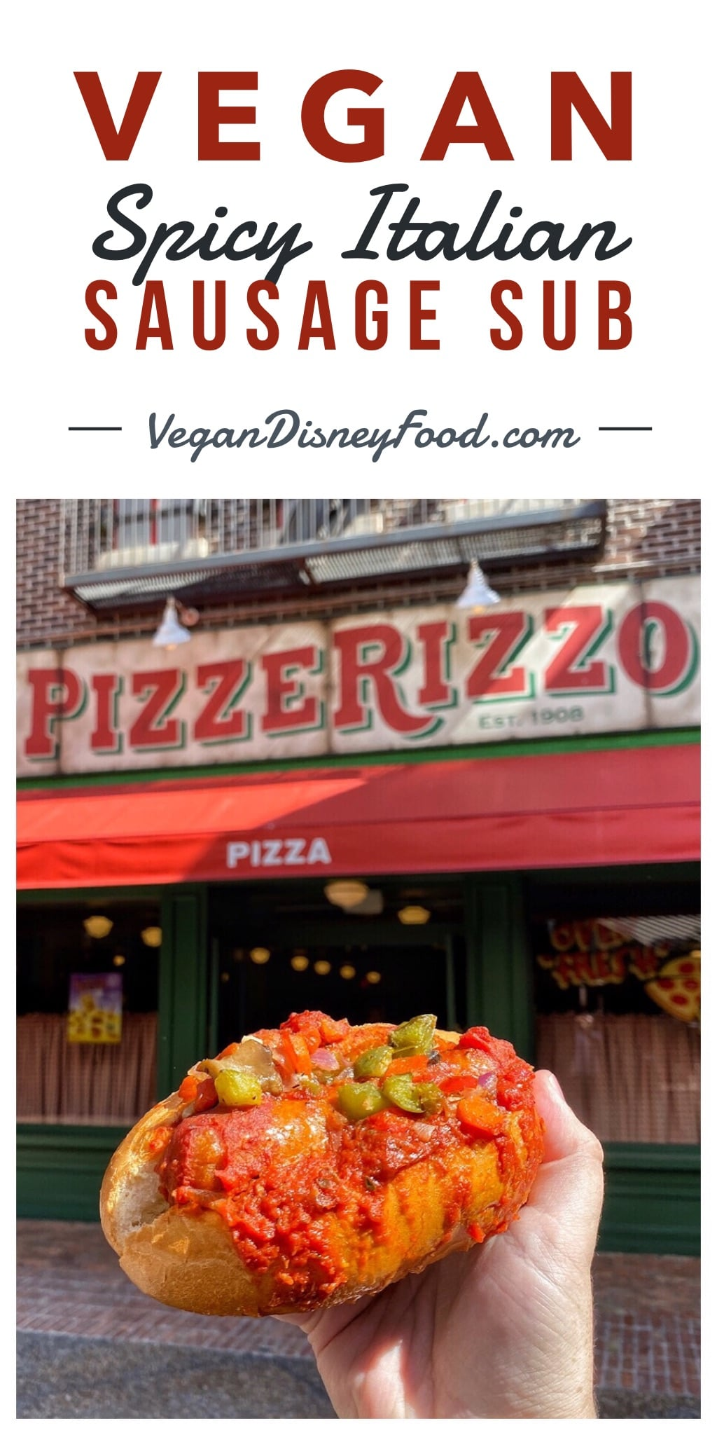 Vegan Spicy Italian Sausage Sub at PizzeRizzo in Disney's Hollywood Studios at Walt Disney World