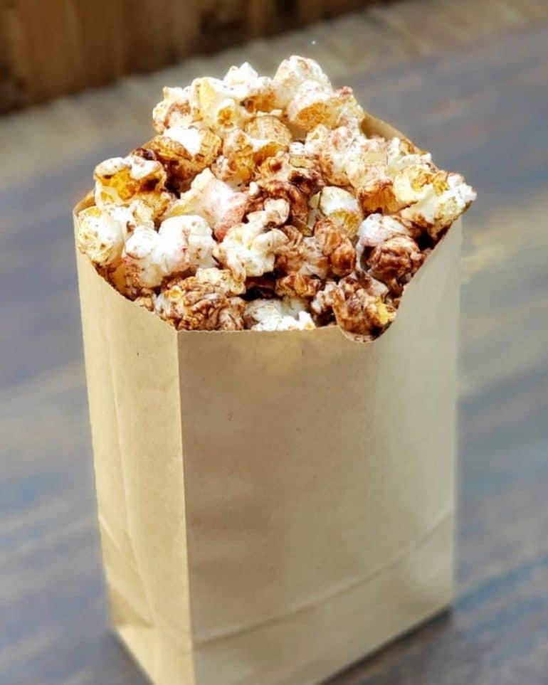 Vegan Chocolate Popcorn with Crait Red Salt at Kat Saka's Kettle in Star Wars Galaxy's Edge at Disneyland