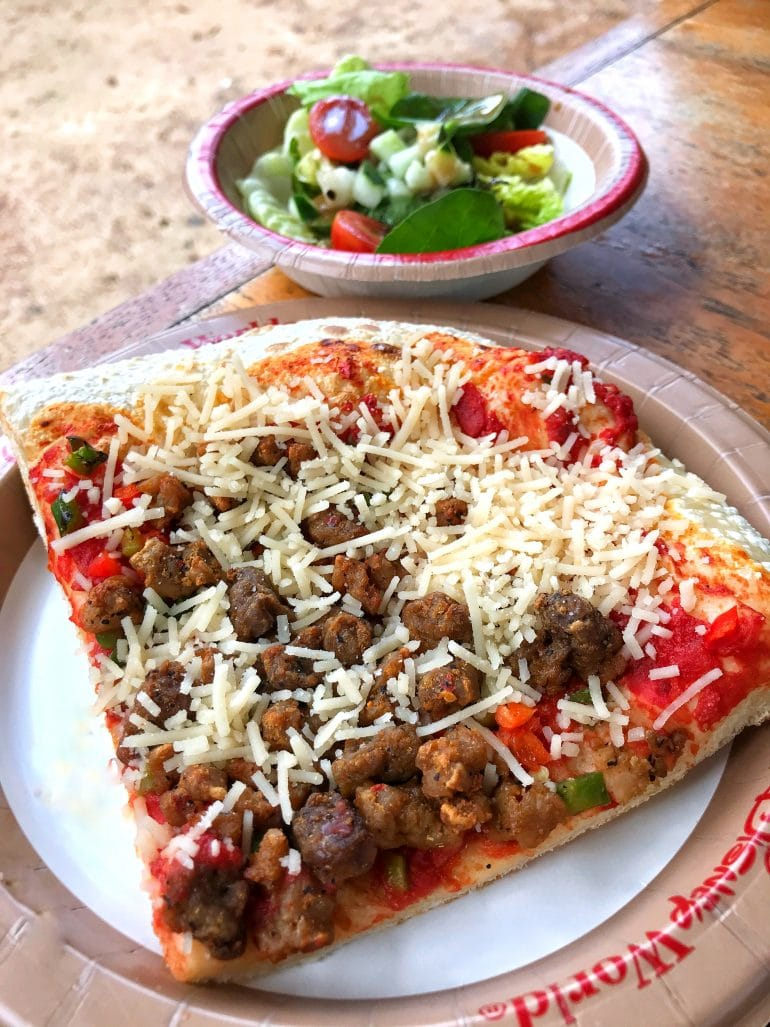 Vegan Sicilian Style Pizza Slice at Pizzafari in Disney's Animal Kingdom at Walt Disney World