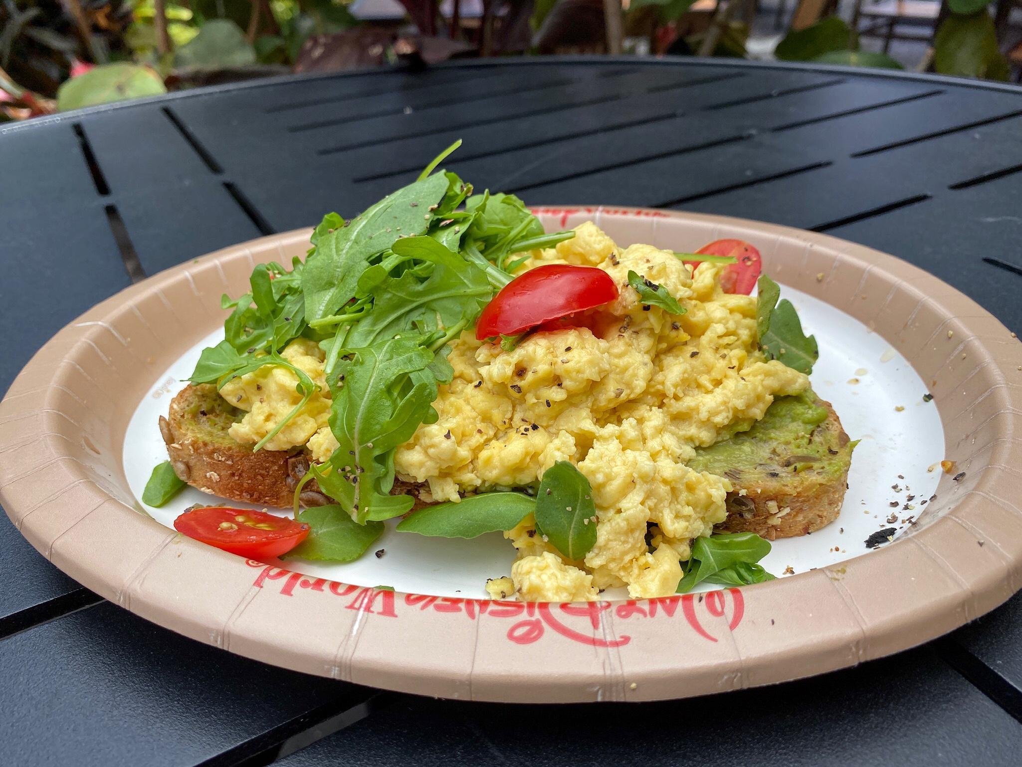 Vegan Avocado Toast at Captain Cook's in Disney's Polynesian Resort at Walt Disney World