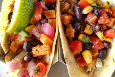 Vegan Roasted Fall Vegetable Tacos at Rainforest Cafe in Disney Springs at Walt Disney World