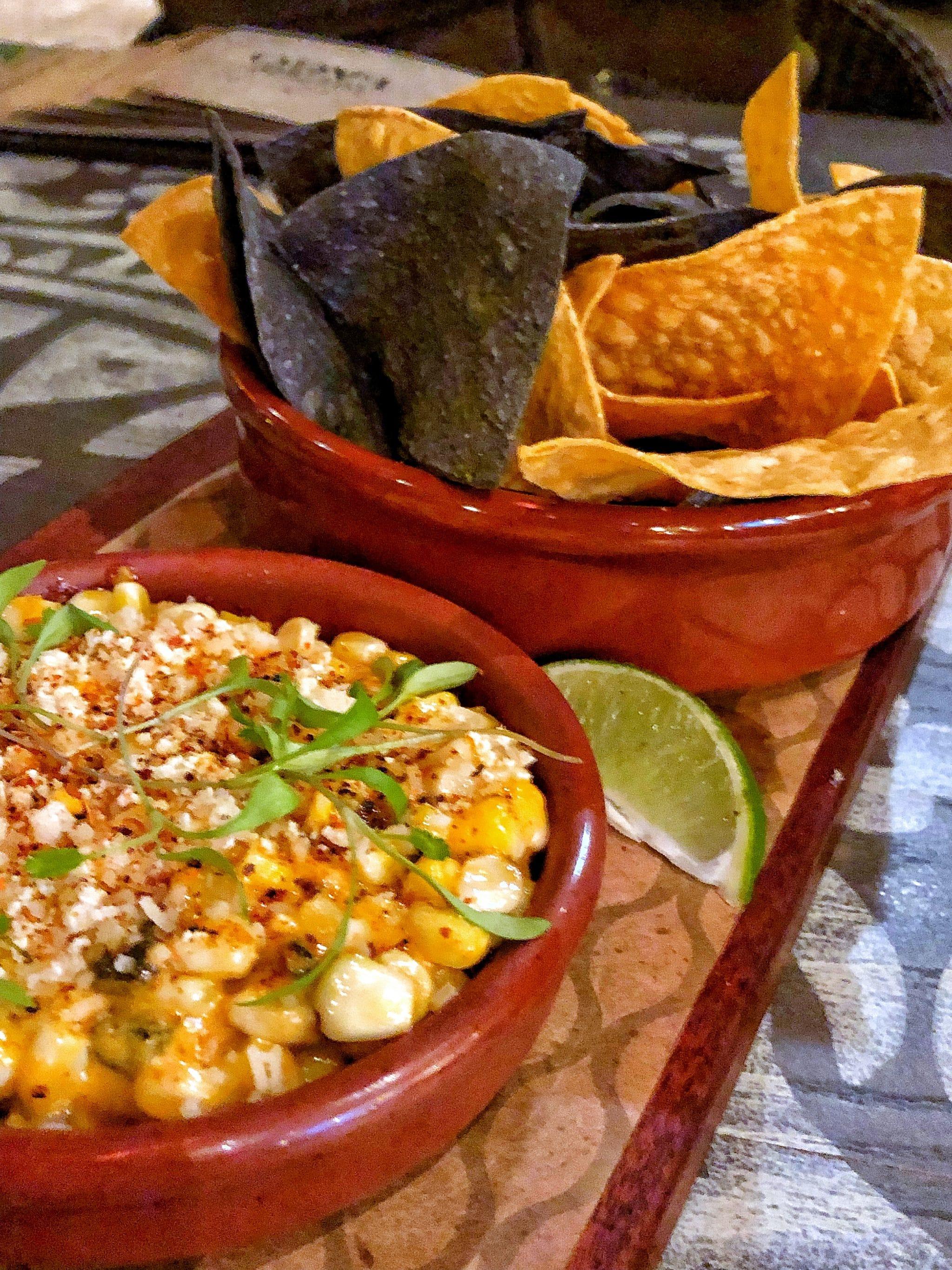 Secret Menu Item Vegan Elote Corn Dip at Three Bridges Bar and Grill at Villa del Lago in Disney's Coronado Springs Resort