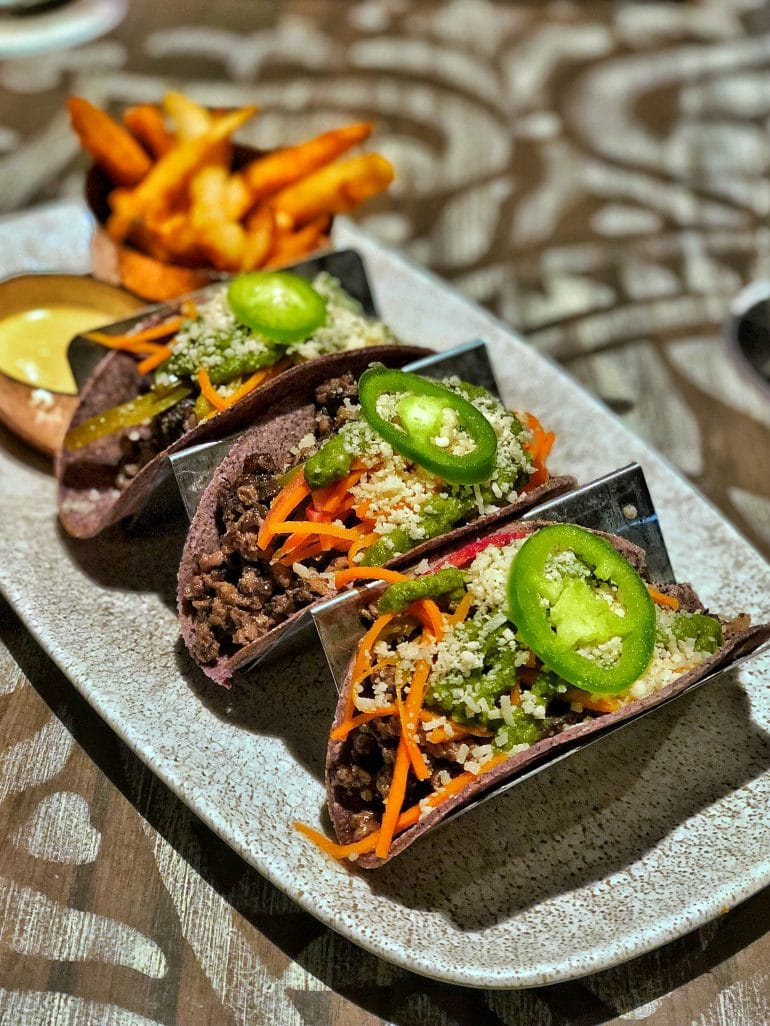 Vegan Tacos at Three Bridges Bar & Grill at Villa del Lago in Disney's Coronado Springs Resort at Walt Disney World