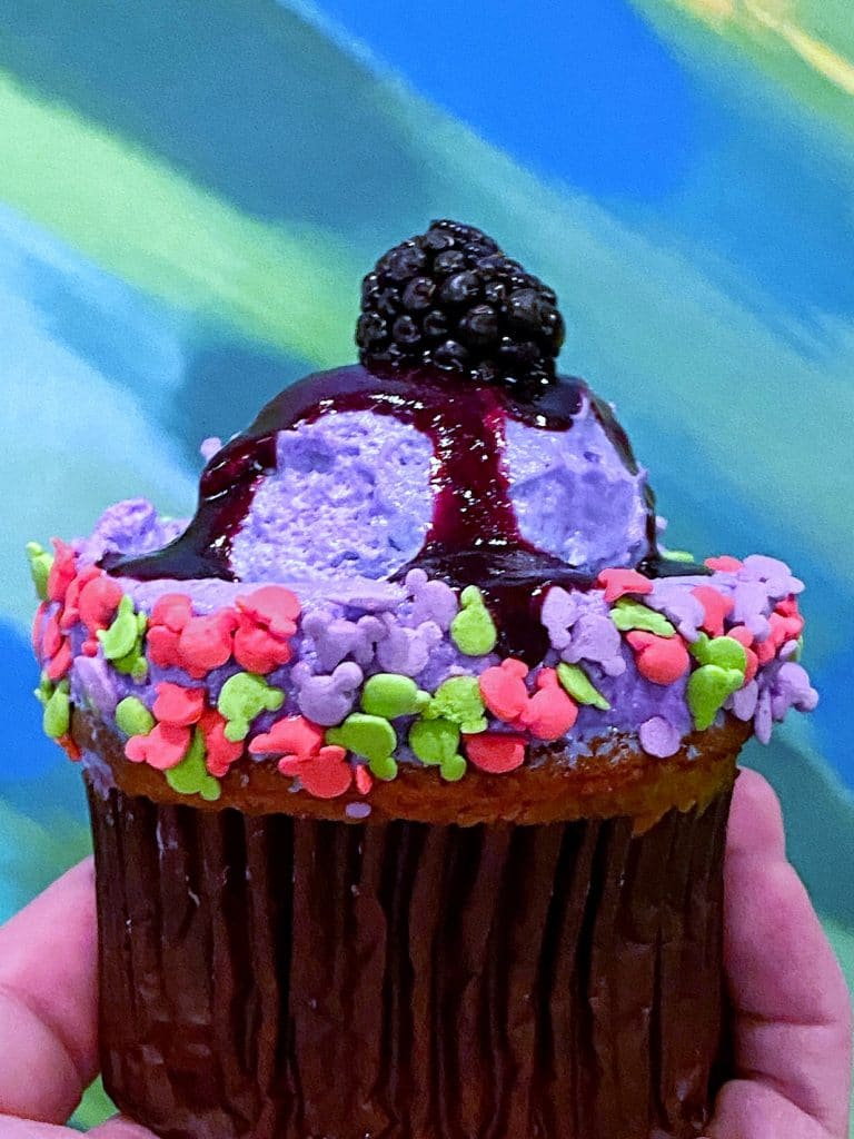 Vegan Blackberry Seasonal Cupcake at Sunshine Seasons in The Land at Epcot in Walt Disney World