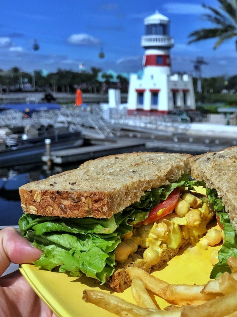Vegan Curried Garbanzo Salad Sandwich at Centertown Market in Disney's Caribbean Beach Resort