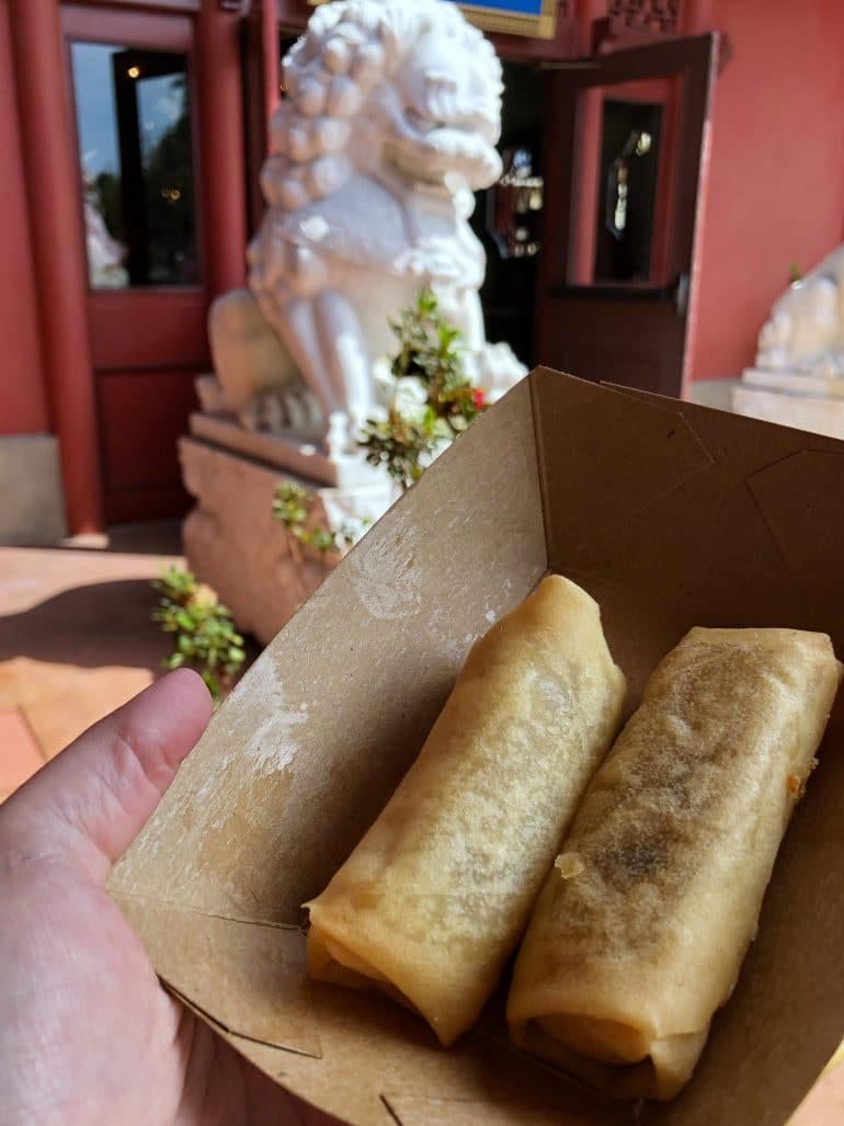 Vegan Vegetable Springs Rolls at Lotus Blossom Cafe in China at Epcot