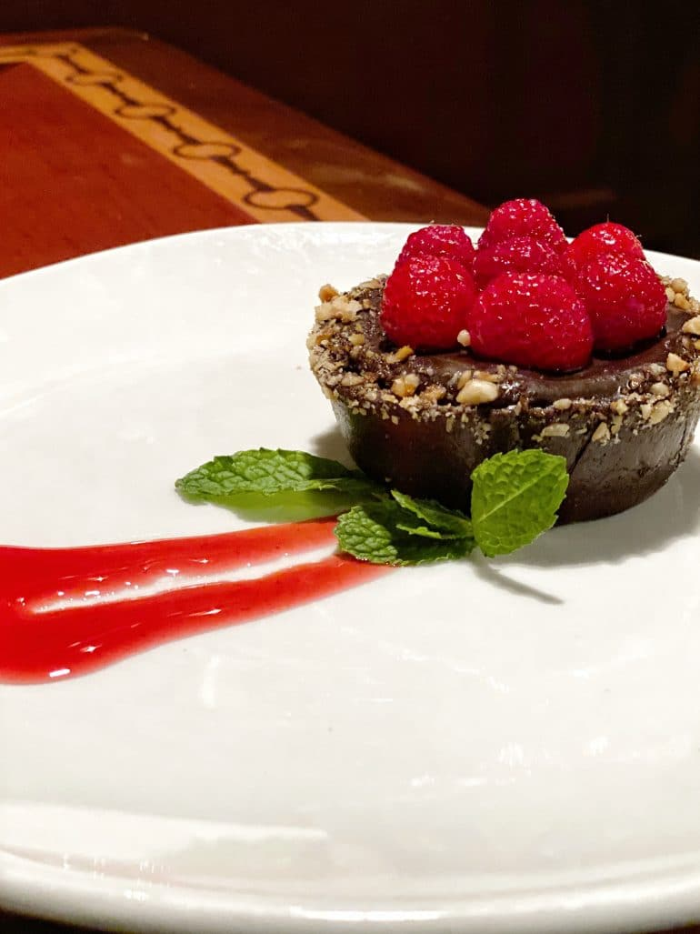 Vegan Chocolate Fruit Tart at The Turf Club Bar and Grill in Disney's Saratoga Springs Resort