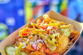 Disney Springs Hot Diggity Dogs Food Truck Vegan Chicago Style Loaded Chips