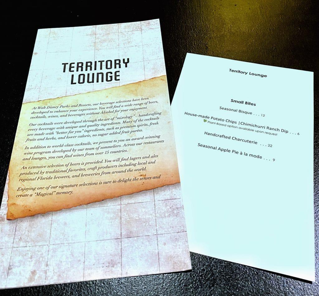 Territory Lounge seasonal menu
