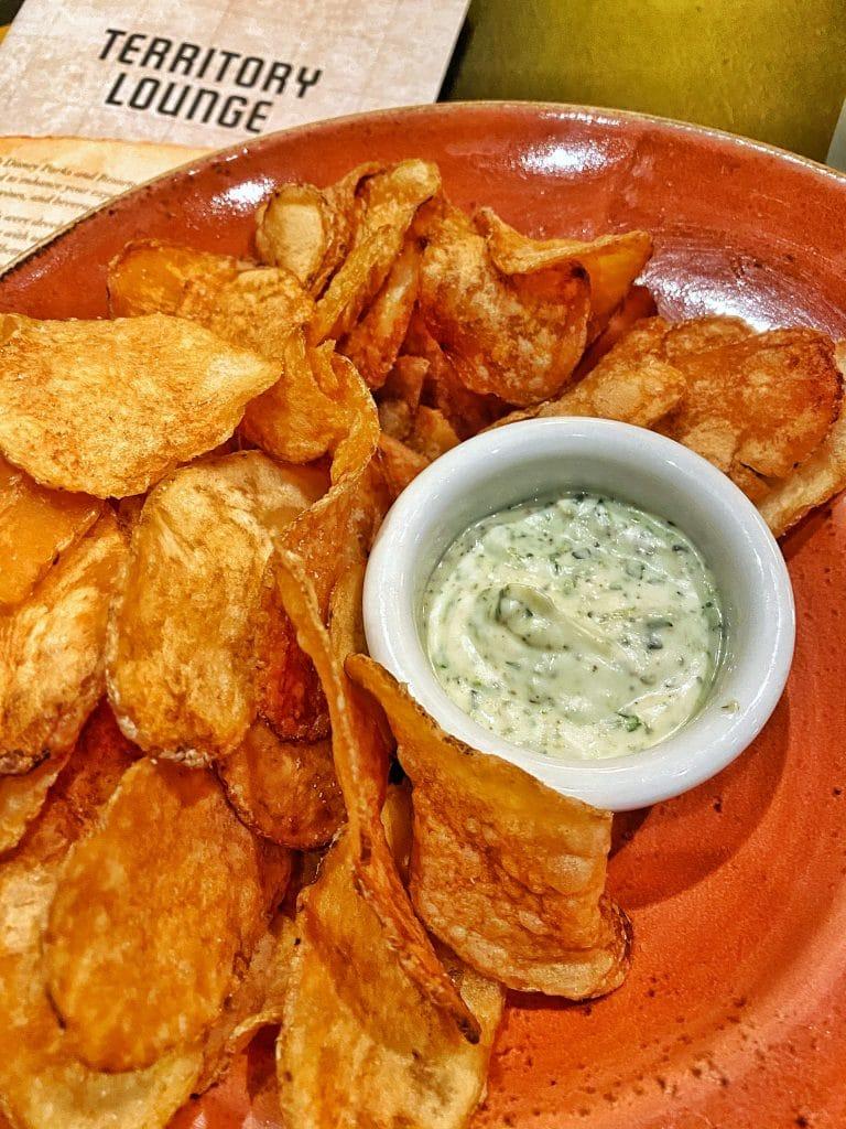 Chips with vegan Chimichurri Dip Territory Lounge