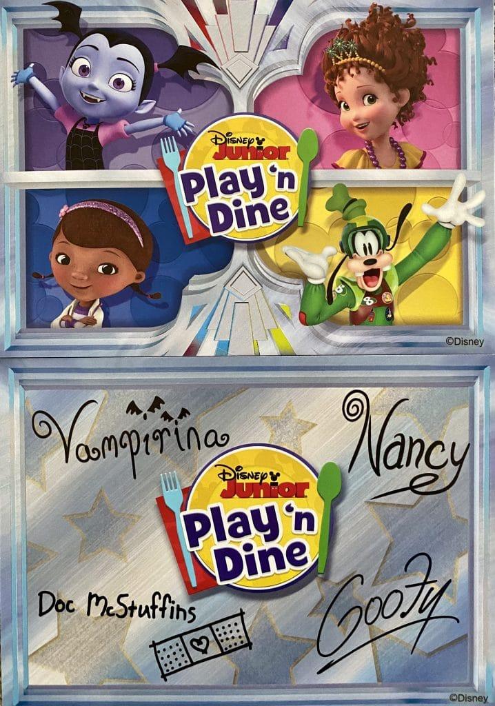 Disney Junior Play 'n Dine autograph card