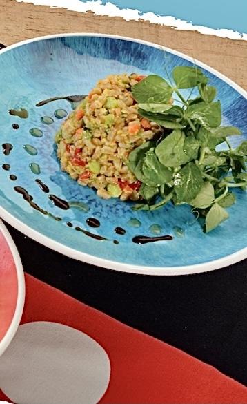 vegan Chef Mickey's faro wheat fried rice