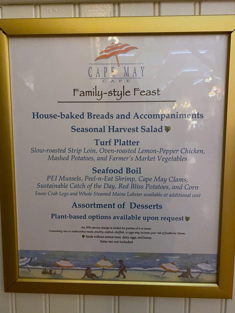 Cape May Cafe menu board