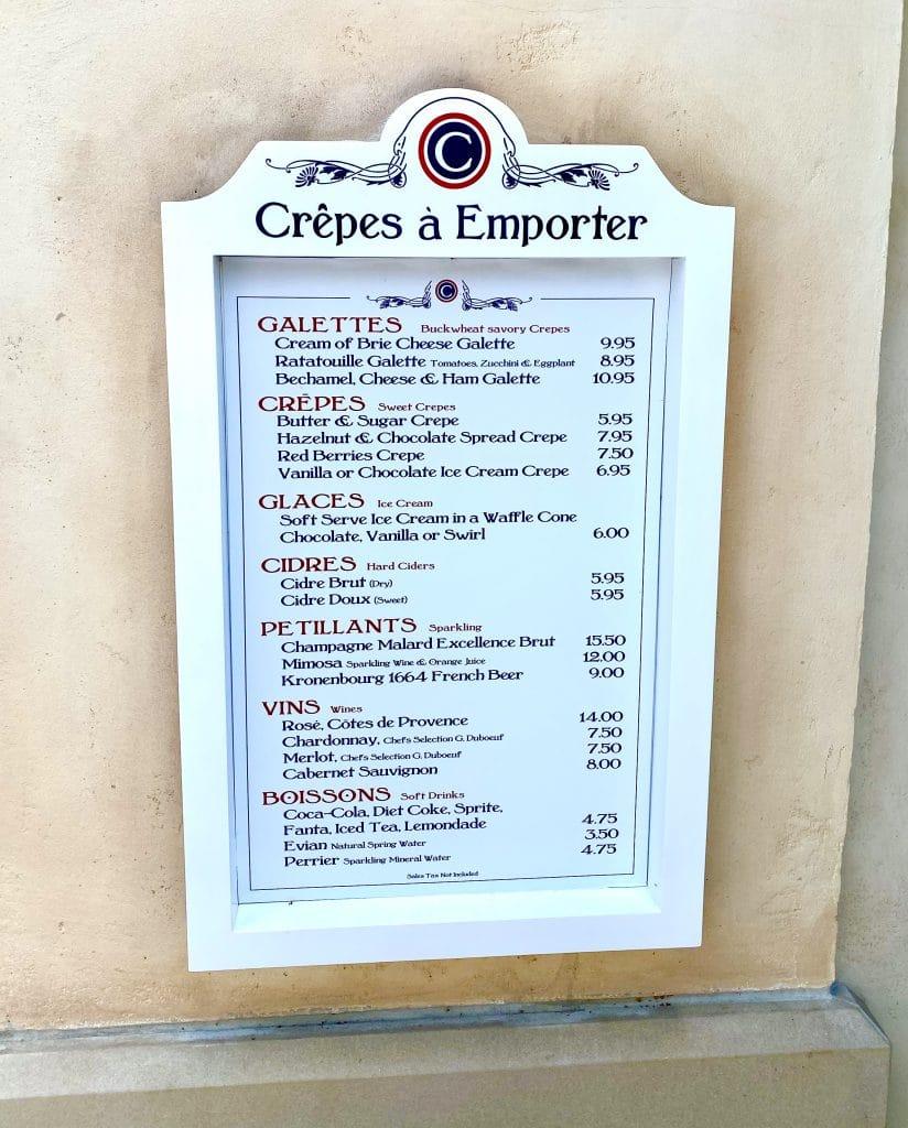 Crepes a Emporter menu