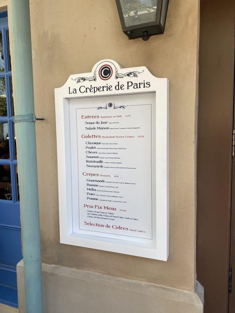 La Creperie de Paris menu