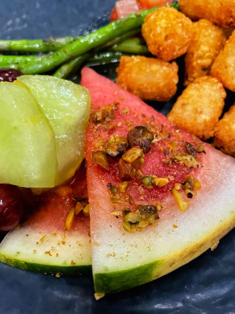 Watermelon with pistachios and mint