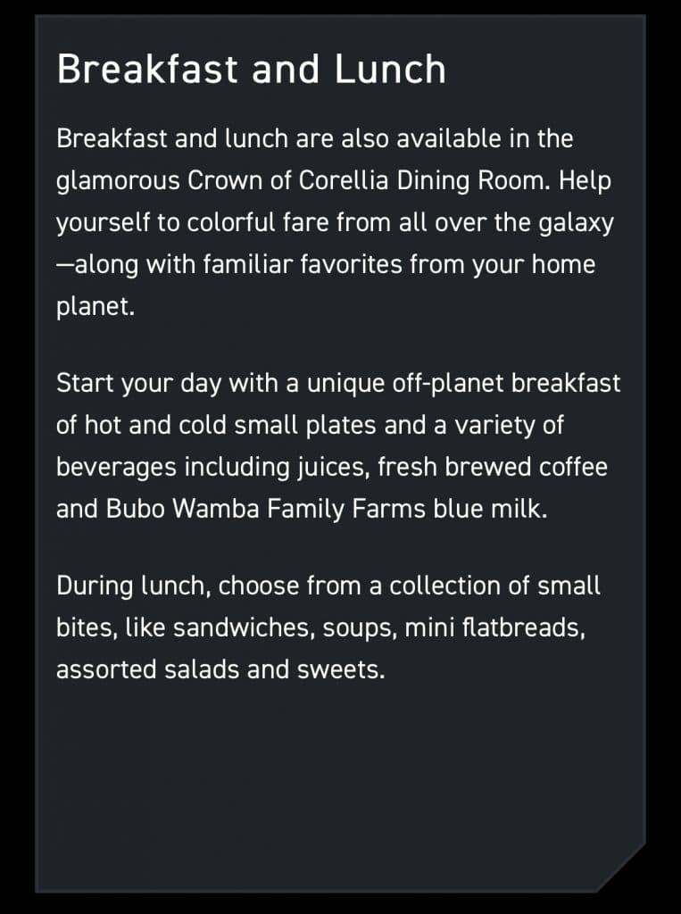 Star Wars Galactic StarCruiser vegan options