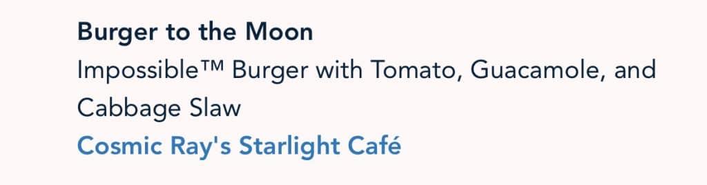 Vegan Burger to the Moon Disney 50th