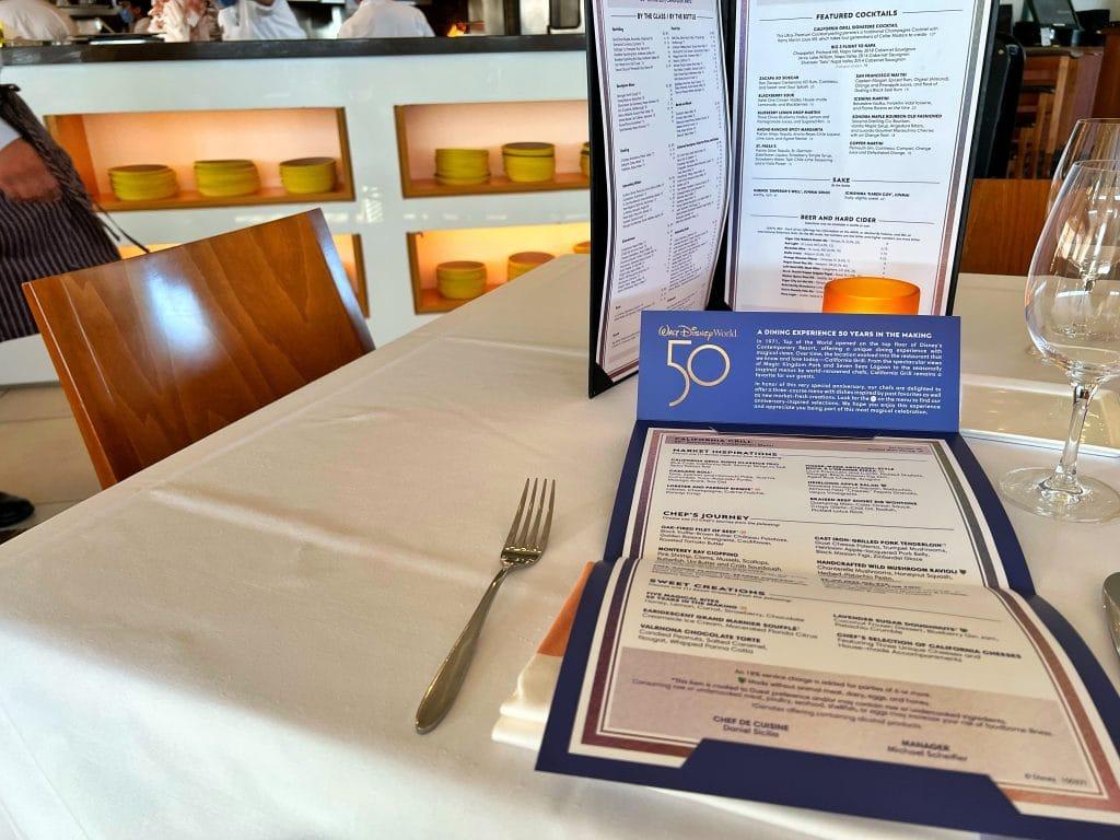 Menu California Grill WDW 50th anniversary